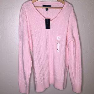 KAREN SCOTT    pink vneck cable knit sweater